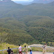 Tourists at Echo Point Lookout in the Blue Mountains in Katoomba, New South Wales, Australia.