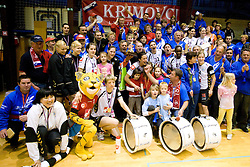 Team of RK Krim with fans and trophy at last 10th Round handball match of Slovenian Women National Championships between RK Krim Mercator and RK Olimpija, on May 15, 2010, in Galjevica, Ljubljana, Slovenia. Olimpija defeated Krim 39-36, but Krim became Slovenian National Champion. (Photo by Vid Ponikvar / Sportida)
