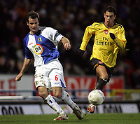 Photo: Paul Thomas.<br /> Blackburn Rovers v Arsenal. The FA Cup. 28/02/2007.<br /> <br /> Jeremie Aliadiere (R) of Arsenal tries to chase down Ryan Nelsen.