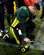 "Oregon Ducks QB Joey Harrington reacts to a late game touchdown by the Beavers which put them within 3 points of Oregon during the always contentious ""Civil War."""