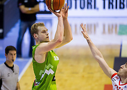 Jaka Blazic of Slovenia vs Beka Tsivtsivadze of Georgia during friendly basketball match between National teams of Slovenia and Georgia in day 2 of Adecco Cup 2014, on July 25, 2014 in Dvorana OS 1, Murska Sobota, Slovenia. Photo by Vid Ponikvar / Sportida.com