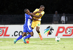 13052018 (Durban) Maritzburg player Lebohang Maboe tackle with Mngwengwe Nkanyiso Maritzburg United drew 1-1 with Lamontville Golden Arrows in an Absa Premiership match at the Harry Gwala Stadium in Pietermaritzburg on Saturday afternoon.<br /> Picture: Motshwari Mofokeng/African News Agency/ANA