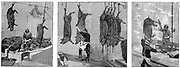 One of earliest production lines: Armour Company's slaughterhouse, Chicago. Pigs killed at top of building, emerged at bottom as finished carcasses. Processes (1) hitching up live beasts (2) slaughtering & bleeding (3) scalding carcasses. Wood engraving Paris 1892