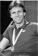 1983-15-08.15th August 1983.15-08-1983.08-15-83..Photographed at Dublin Airport..Taking a breather:..Gold medalist Eamonn Coughlan relaxing at the VIP lounge in Dublin Airport during a press conference on his return from the World Athletics Champonships in Helsinki, Finland.