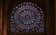 North rose window, 1250-1260, made under Jean de Chelles, on the North transept wall, in the Cathedrale Notre-Dame de Paris, or Notre-Dame cathedral, built 1163-1345 in French Gothic style, on the Ile de la Cite in the 4th arrondissement of Paris, France. The North rose window contains mainly 13th century glass and depicts old testament prophets around a central medallion, above 18 lancet windows. Photographed on 17th December 2018 by Manuel Cohen