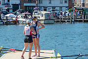 "Henley on Thames, United Kingdom, 8th July 2018, Sunday,  ""Henley Royal Regatta"",  Princess Royal Challenge Cup, Left, winner Jeannine GMELIN SUI W1X, Ruderclub Uster, , greets her fellow Finalist Madeleine (Maddy) Edmunds AUS, Georgina Hope Rinehart National Training Centre, View, Henley Reach, River Thames, Thames Valley, England, UK."