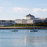 Photo of Shedd Aquarium and Chicago lakefront along Museum Campus in downtown Chicago, Illinois. The Shedd Aquarium is one of Chicago's best and most popular attractions. Picture is high resolution and was taken in 2010.