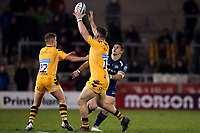 Rugby Union - 2019 / 2020 Gallagher Premiership - Sale Sharks vs. Wasps <br /> <br /> Ben Harris of Wasps collects the ball after Rohan Janse van Rensburg of Sale Sharks attempts to kick for territory, at AJ Bell Stadium,<br /> <br /> COLORSPORT/PAUL GREENWOOD
