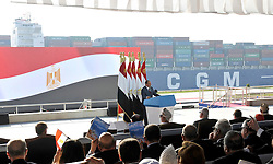 06.08.2015, Sueskanal, EGY, Sueskanal Kanal Erweiterung, im Bild Feierlichkieiten zur Sueskanal Erweiterung // Egyptian President Abdel Fattah al-Sisi gives a speech during the inauguration ceremony of the new Suez Canal, in Ismailia, Egypt, August 6, 2015. Egypt staged a show of international support on Thursday as it inaugurated a major extension of the Suez Canal which President Abdel Fattah al-Sisi hopes will power an economic turnaround in the Arab world's most populous country. Photo by Stringer, Egypt on 2015/08/06. EXPA Pictures © 2015, PhotoCredit: EXPA/ APAimages/ Stringer<br /> <br /> *****ATTENTION - for AUT, GER, SUI, ITA, POL, CRO, SRB only*****