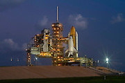 Space Shuttle Discovery stands ready after arriving at launch pad 39A at the Kennedy Space Center in Cape Canaveral, Fla. Discovery is scheduled to launch on Nov. 1.<br /> <br /> <br /> Mandatory Credit:Donald Montague / Southcreek Global<br /> <br /> <br /> Mandatory Credit:Donald Montague / Southcreek Global