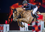 HONG KONG - FEBRUARY 20:  Joe Clee of Great Britrain rides Vedet de Muze E T during the Airbus Trophy as part of the 2016 Longines Masters of Hong Kong on February 20, 2016 in Hong Kong, Hong Kong.  (Photo by Aitor Alcalde Colomer/Getty Images)