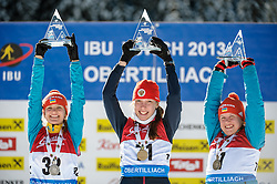 29.01.2013, Biathlonzentrum, Obertilliach AUT, IBU, Jugend und Junioren Weltmeisterschaften, Einzel Jugend Damen, im Bild v.ln.r. Zweiter Platz Yulia Zhuravok (UKR), Gewinnerin Uliana Kaisheva (RUS) und Dritter Platz Anastasiya Merkushyna (UKR) //f.l.t.r. 2nd place Yulia Zhuravok from Ukraine, Winner Uliana Kaisheva from Russia and 3rd place Anastasiya Merkushyna from Ukraine  during the Individual Youth Women of IBU Youth  and Juniors World Championships at Biathloncenter, Obertilliach, Austria on 2013/01/29. EXPA Pictures © 2013, PhotoCredit: EXPA/ Michael Gruber