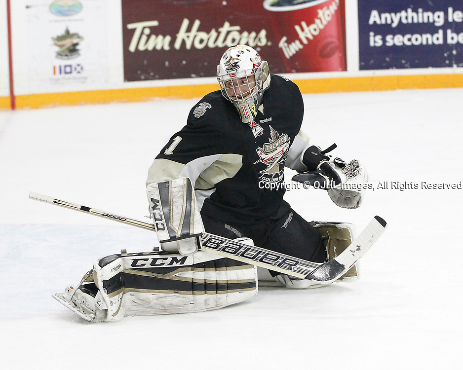 TRENTON, ON  - MAY 2,  2017: Canadian Junior Hockey League, Central Canadian Jr. &quot;A&quot; Championship. The Dudley Hewitt Cup. Game 2 between Trenton Golden Hawks and Powassan Voodoos. Chris Janzen #1 of the Trenton Golden Hawks follows the play during the first period.<br /> (Photo by Tim Bates / OJHL Images)