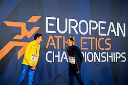 August 13, 2018 - Berlin, GERMANY - 180813 Armand Duplantis of Sweden and Renaud Lavillenie of France, the men's pole vault final during the European Athletics Championships on August 13, 2018 in Berlin..Photo: Vegard Wivestad GrÂ¿tt / BILDBYRN / kod VG / 170208 (Credit Image: © Vegard Wivestad Gr¯Tt/Bildbyran via ZUMA Press)