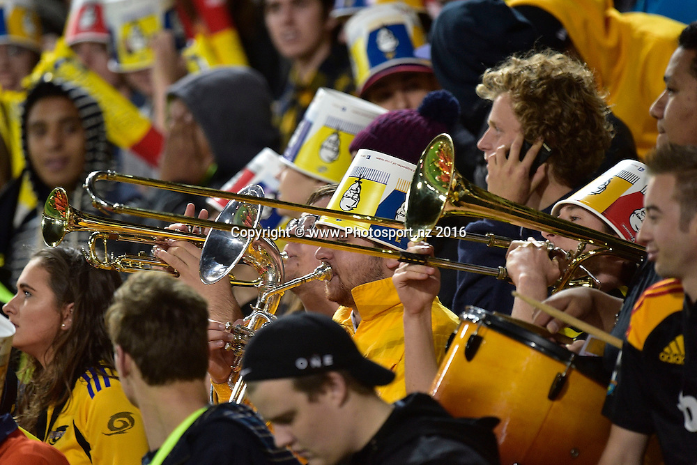 Hurricanes' fans during the Hurricanes vs Chiefs Super Rugby  match at the Westpac Stadium in Wellington on Saturday the 23rd of April 2016. Copyright Photo by Marty Melville / www.Photosport.nz
