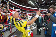 Arsenal's Kieran Gibbs doing a selfie with the fans during the The FA Cup match between Arsenal and Aston Villa at Wembley Stadium, London, England on 30 May 2015. Photo by Phil Duncan.