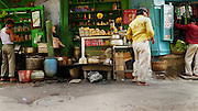 The chai merchants are open for breakfast, including the Rajesh tea shop (center) where Leah ate breakfast with the kids daily so many years ago.