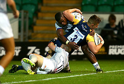 Huw Taylor of Worcester Warriors scores a try - Mandatory by-line: Robbie Stephenson/JMP - 28/07/2017 - RUGBY - Franklin's Gardens - Northampton, England - Worcester Warriors v Bath Rugby - Singha Premiership Rugby 7s