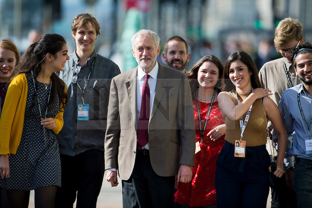 © Licensed to London News Pictures. 29/09/2015. Brighton, UK. Labour party leader JEREMY CORBYN arriving to deliver his leader speech on day three of the 2015 Labour Party Conference, held at the Brighton Centre in Brighton, East Sussex.  Photo credit: Ben Cawthra/LNP
