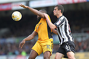 PENALTY Lenell John-Lewis is fouled by Haydn Hollis during the EFL Sky Bet League 2 match between Newport County and Notts County at Rodney Parade, Newport, Wales on 6 May 2017. Photo by Daniel Youngs.