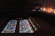 The enormous stained-glass windows of Liverpool Cathedral, from the inside.