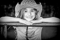 Little Cowgirl Black and White image for sale