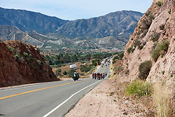 The lead group approach at Amgen Tour of California Women's Race empowered with SRAM 2019 - Stage 3, a 126 km road race from Santa Clarita to Pasedena, United States on May 18, 2019. Photo by Sean Robinson/velofocus.com