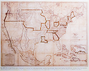 """1823 map (copy) of 24 US states, at The Alamo, San Antonio, Texas, USA. Caption: """"By 1820, the United States was composed of twenty-four individual states, twelve that allowed slavery and twelve that did not. John Melish, Map of the United States with the Contiquous British and Spanish Possessions. 1823. ... Tobin Map Collection, courtesy of the Daughters of the Republic of Texas Library."""" The Alamo Mission in San Antonio (or """"The Alamo"""") was originally known as Mission San Antonio de Valero, a former Roman Catholic mission and fortress compound, and the site of the Battle of the Alamo in 1836. It is now a museum in the Alamo Plaza District of Downtown San Antonio, Texas, USA."""