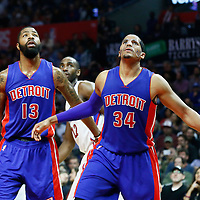 07 November 2016: Detroit Pistons forward Marcus Morris (13) is seen next to Detroit Pistons forward Tobias Harris (34) during the LA Clippers 114-82 victory over the Detroit Pistons, at the Staples Center, Los Angeles, California, USA.