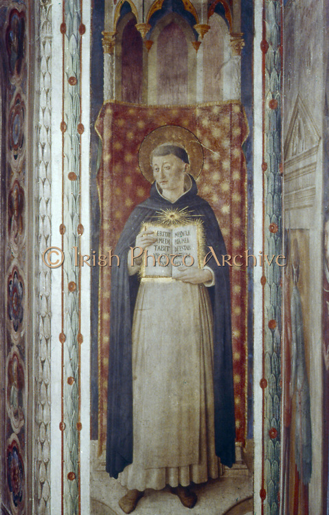 St Thomas Aquinas'.  Fra Angelico (Guido di Pietro/Giovanni da Fiesole c1400-55) Italian painter. Fresco, Chapel of Nicholas V, Vatican Palace.