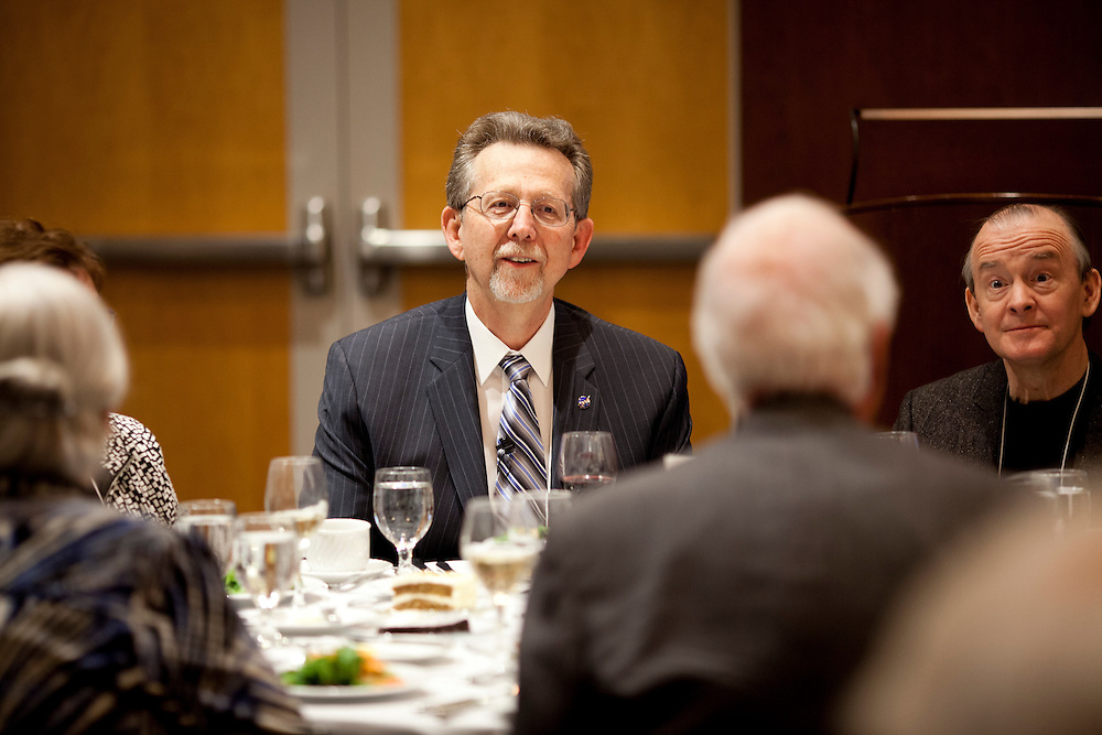 Dr. Jim Green, director of NASA's Planetary Sciences Division and University of Iowa alum  speaks with colleagues at a symposium honoring the career of his former teacher and prolific physicist Dr. Donald Gurnett at the university's Levitt Center for University Advancement in Iowa City on Saturday, October 17, 2015. (Rebecca F. Miller/Freelance for The Gazette)