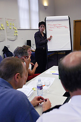 Woman writing on flipchart during One City Partnership meeting at Djangoly Innovation Centre,