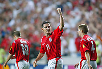 England v Croatia - Estadio de Luz, Lisbon - 21st June 2004<br />England's Frank Lampard celebrates scoring England's fourth goal of the evening.<br />Photo: Jed Leicester/Sporting Pictures<br />© Sporting Pictures (UK) Ltd<br />www.sportingpictures.com<br />Tel: +44 (0)20 7405 4500<br />Fax: +44 (0)20 7831 7991