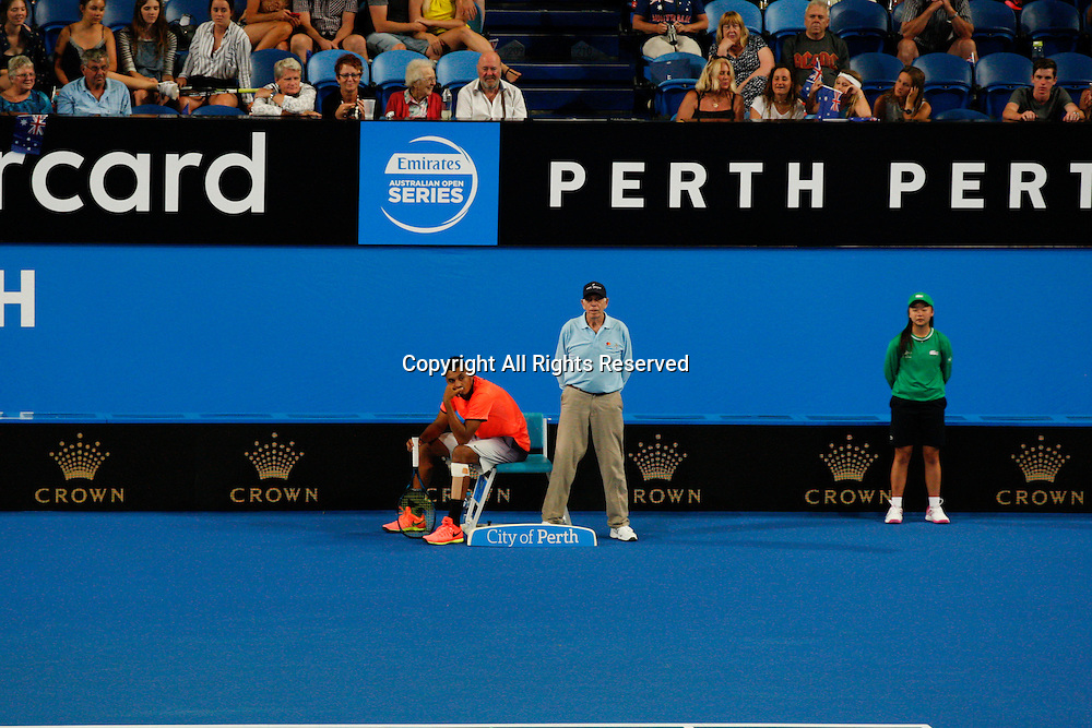 03.01.2017. Perth Arena, Perth, Australia. Mastercard Hopman Cup International Tennis tournament. Nick Kyrgios waits for the match to resume during the mixed doubles against the Czech Republic.