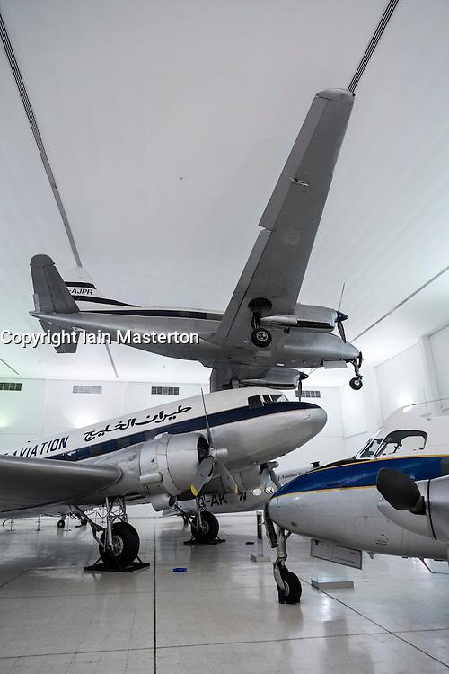 Historic aircraft on display at Al Mahatta Museum, fthe preserved former former Sharjah airport in Sharjah United Arab Emirates