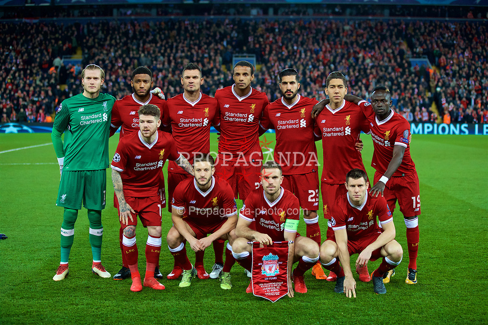 LIVERPOOL, ENGLAND - Monday, March 5, 2018: Liverpool's players line up for a team group photograph before the UEFA Champions League Round of 16 2nd leg match between Liverpool FC and FC Porto at Anfield. Back row L-R: goalkeeper Loris Karius, Joe Gomez, Dejan Lovren, Joel Matip, Emre Can, Roberto Firmino, Sadio Mané. Front Row L-R: Alberto Moreno, Adam Lallana, Jordan Henderson, James Milner. (Pic by Paul Greenwood/Propaganda)
