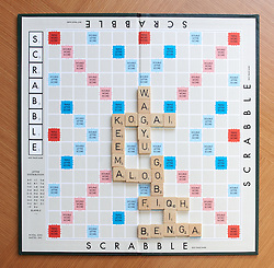 © licensed to London News Pictures. LONDON, UK  09/05/2011. The new edition of the Collins Official Scrabble Words adds nearly 3,000 new words. The additions are an eclectic mix of jargon, overseas and street slang. They include WAGYU (a type of beef with a base score of 12), KOGAI (a young woman with a busy social life, 9), KEEMA (a type of mince, 10), ALOO (potato, 4), GOBI (cauliflower, 7), FIQH (Islamic law, 19), QIN (a highly useful u-less word meaning a type of Chinese musical instrument, 12) and BENGA (a type of Kenyan music, 8). Please see special instructions for usage rates. Photo credit should read CLIFF HIDE/LNP