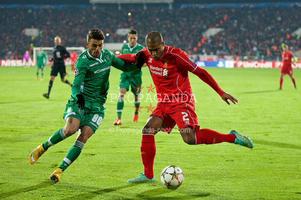 SOFIA, BULGARIA - Wednesday, November 26, 2014: Liverpool's Glen Johnson in action against PFC Ludogorets Razgrad's Junior Caicara during the UEFA Champions League Group B match at the Vasil Levski National Stadium (Pic by David Rawcliffe/Propaganda)