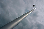 """""""Man walking to the Sky"""" by Jonathan Borofsky, installed for documenta IX in 1992, has since become a Kassel landmark being lovingly called """"Himmelsstu?rmer""""."""