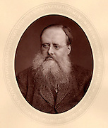 (William) Wilkie Collins (1824-1889), English novelist. Author of sensation novels of mystery and suspense including 'The Woman in White' (1860) and 'The Moonstone' (1868).  From 'Men of Mark'  by Thompson Cooper (London, c1880). Woodbury type after photograph by Lock & Whitfield (active 1860s-1880s), English photographers.