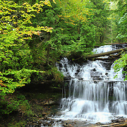"""""""Rain on Wagner Falls""""<br /> <br /> Early autumn at Wagner Falls in Munising Michigan."""