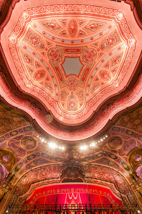 "Interior of the Kings Theatre, originally Loew's Kings Theatre, one of five original ""Loew's Wonder Theatres,"" opened in 1929. Designed by Rapp & Rapp, with interior design by Harold W. Rambusch."