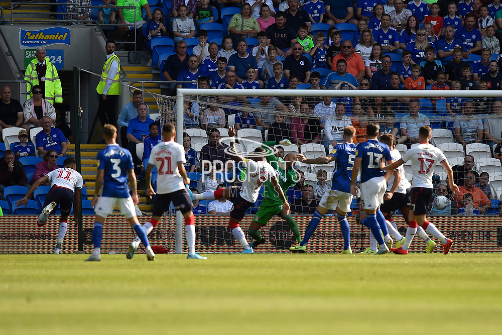 Goal - Ashley Fletcher (11) of Middlesbrough scores an own goal to give Cardiff a 1-0 lead during the EFL Sky Bet Championship match between Cardiff City and Middlesbrough at the Cardiff City Stadium, Cardiff, Wales on 21 September 2019.