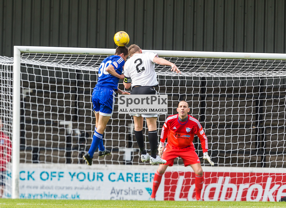 Cammy Kerr and Nicky Devlin clash heads during the Scottish League 1 fixture between Ayr Utd and Peterhead (c) ROSS EAGLESHAM | Sportpix.co.uk