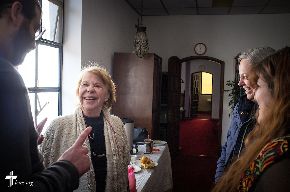 The Rev. Andrew Schlund, LCMS missionary to Mexico, laughs with parishioners Nory Bazzano Mastelli (left), Debora Potter, and Nancy Rosete following a council meeting at Lutheran Church of The Good Shepherd on Saturday, Jan. 14, 2017, in Mexico City. LCMS Communications/Erik M. Lunsford