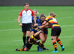 Chelsey Snead of Worcester Valkyries  is challenged by Claire Phelps of Richmond Women- Mandatory by-line: Nizaam Jones/JMP - 22/09/2018 - RUGBY - Sixways Stadium - Worcester, England - Worcester Valkyries v Richmond Women - Tyrrells Premier 15s