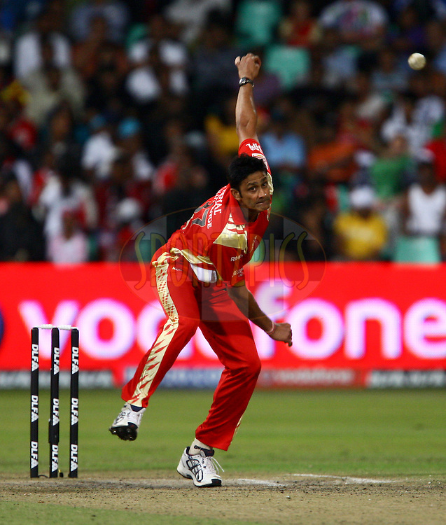DURBAN, SOUTH AFRICA - 1 May 2009. Anil Kumble in action with the ballduring the IPL Season 2 match between Kings X1 Punjab and the Royal Challengers Bangalore held at Sahara Stadium Kingsmead, Durban, South Africa..