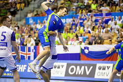 Marko Kotar of Slovenia during handball match between National teams of Slovenia and Iceland in Main Round of 2018 EHF U20 Men's European Championship, on July 25, 2018 in Arena Zlatorog, Celje, Slovenia. Photo by Urban Urbanc / Sportida
