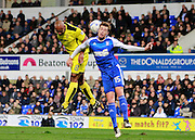 Ipswich's Adam Webster (15) wins a header against Burton's Chris O'Grady (8) during the EFL Sky Bet Championship match between Ipswich Town and Burton Albion at Portman Road, Ipswich, England on 18 October 2016. Photo by Richard Holmes.