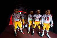 The Jesuit High School Marauders enter the stadium before the Holy Bowl between Christian Brothers High School Falcons and Jesuit High School Marauders at Hughes Stadium, Saturday Sep 10, 2016.<br /> photo by Brian Baer